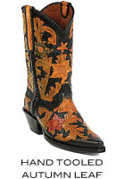 Hand Tooled Autumn Leaf Boots