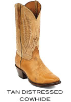 Tan Distressed Cowhide Boots