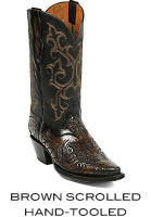 Black Scrolled Hand-Tooled Boots