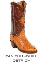 Tan Full-Quill Ostrich Boots