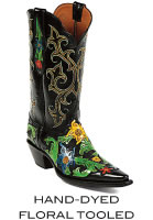 Hand-Dyed Floral Tooled Boots