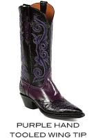 Purple Hand Tooled Wing Tip Boots