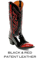 Black & Red Patent Leather Boots