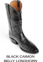 Black Caimon Belly Longhorn Boots