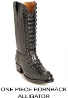 One Piece Hornback Alligator Boots