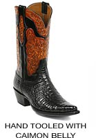 Hand Tooled Boots with Caimon Belly