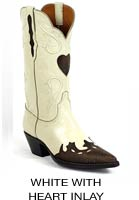 White Boots with Heart Inlay
